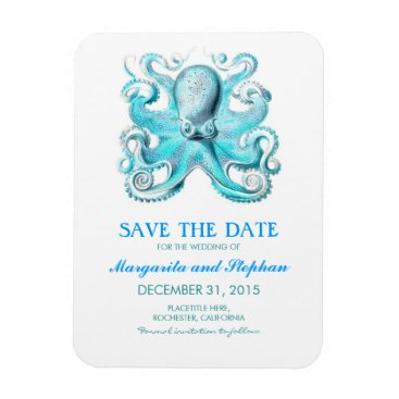 Beach Themed Octopus Turquoise Beach Save the Date Magnet