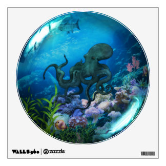 Octopus Underwater World Glass Sphere Wall Decal