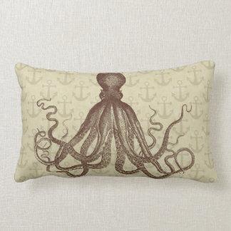 Octopus Vintage Brown Anchors Beach Nautical Lumbar Pillow
