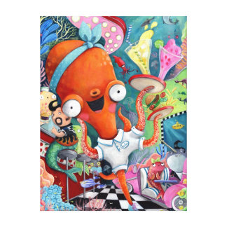 Octopus Waitress in Underwater Road Bar Stretched Canvas Prints