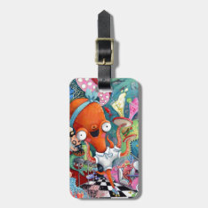 Octopus Waitress In Underwater Road Bar Luggage Tag at Zazzle