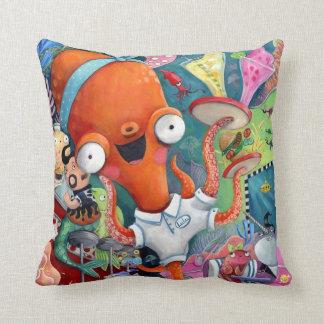 Octopus Waitress in Underwater Road Bar Pillow
