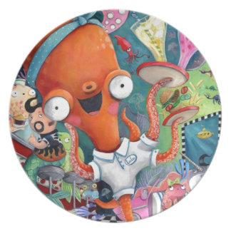 Octopus Waitress in Underwater Road Bar Party Plates