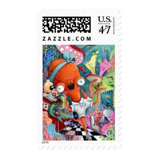 Octopus Waitress in Underwater Road Bar Postage Stamp