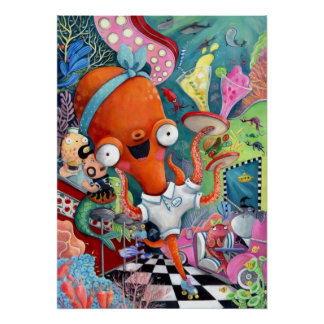 Octopus Waitress in Underwater Road Bar Poster