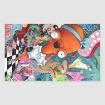 artsprojekt, octopus, road bar, fast food, underwater, under the sea, fish, mermaid, 1950s, animal, nautical, underwater illustration, children illustration, vintage road bar, rockabilly bar, rockabilly, sea illustration, sea, ocean, nautical illustration, nautical gift, nautical present, octopus present, octopus gift, sea gift, sea present, children, underwater animal, kid, kids, nursery, Sticker with custom graphic design