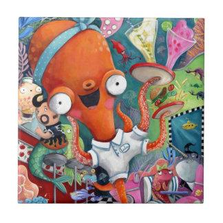 Octopus Waitress in Underwater Road Bar Ceramic Tiles