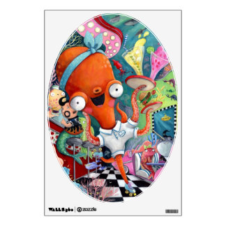 Octopus Waitress in Underwater Road Bar Wall Decal