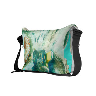 Octopus Watercolor Teal Courier Bag