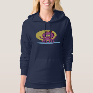 Octopus Wearing A Red Ball Cap Womens Hoodie