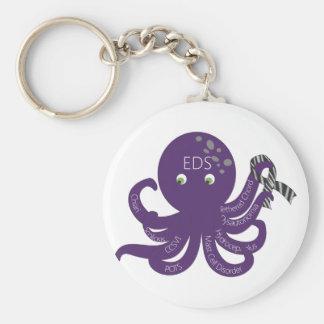 Octopus White Back Ground Basic Round Button Keychain