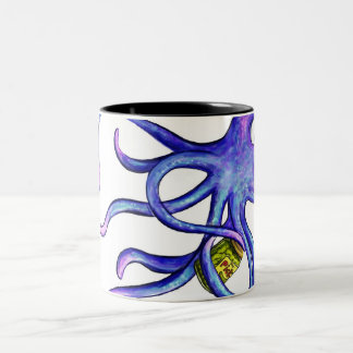Octopus with a pickle jar Two-Tone coffee mug