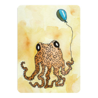 Octopus with Balloon Flat Card