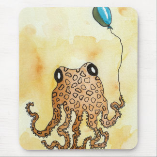 Octopus with Balloon Mouse Pad