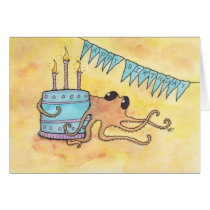 Octopus with Cake Happy Birthday Card