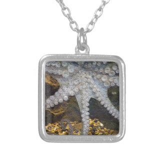 Octopus with Exposed Suction Cup Tentacles Square Pendant Necklace