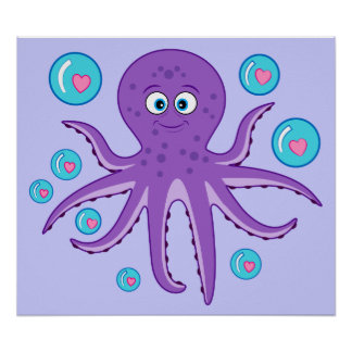 Octopus with Hearts and Bubbles Poster