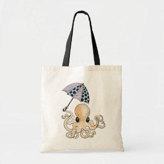 Octopus with Umbrella Budget Tote Bag
