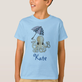 Octopus with Umbrella: Customizable Kid's Name T-Shirt