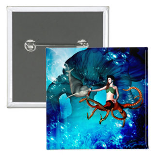 Octopus women with dolphin button