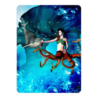 Octopus women with dolphin card
