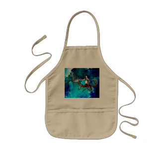 Octopus women with dolphin kids' apron