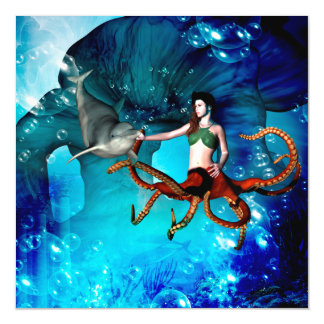 Octopus women with dolphin magnetic card