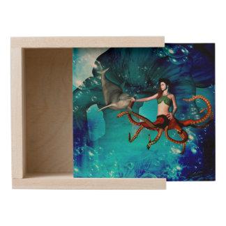 Octopus women with dolphin wooden keepsake box