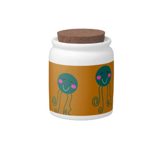 Octopuses brown candy jars