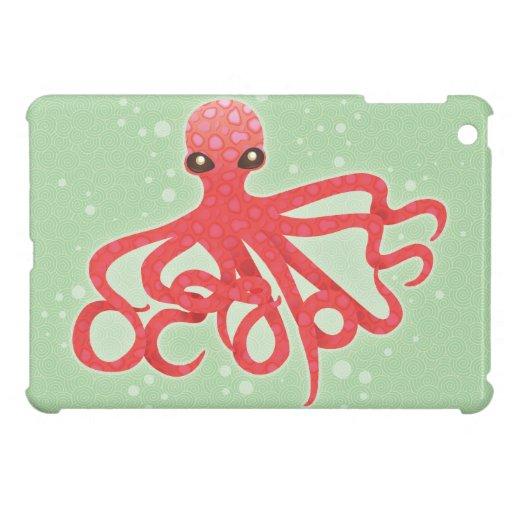 Octopuss - rosa en verde - mini caso del iPad iPad Mini Cárcasa