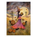 Octubre coloca fantasía de la bruja y de los gatos tarjeton