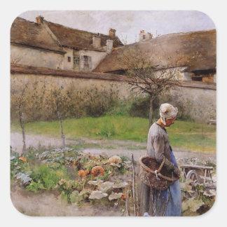 Octubre con la mujer en su jardín pegatina cuadrada