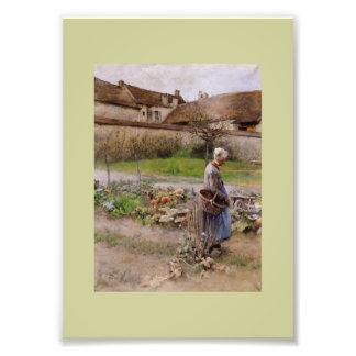 Octubre con la mujer en su jardín arte fotográfico