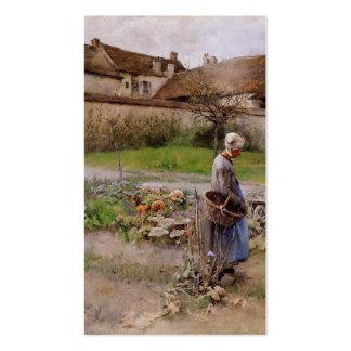 Octubre con la mujer en su jardín tarjetas de visita