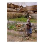 Octubre con la mujer en su jardín tarjetas postales