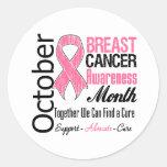 Octubre - mes de la conciencia del cáncer de pecho etiquetas redondas