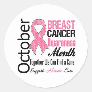 Octubre - mes de la conciencia del cáncer de pecho pegatina redonda