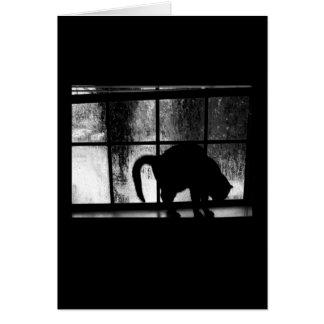 Octubre riega la silueta del gato en la ventana 2 felicitacion