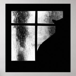 Octubre riega la silueta del gato negro en la vent impresiones