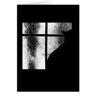 Octubre riega la silueta del gato negro en la vent tarjeton