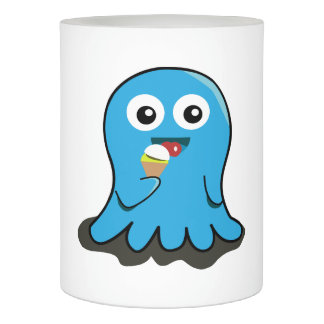 Octupus eating icecream cartoon flameless candle