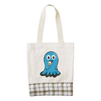 Octupus eating icecream cartoon zazzle HEART tote bag