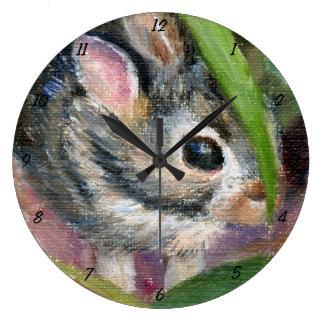 Ocultación del conejito del bebé reloj redondo grande