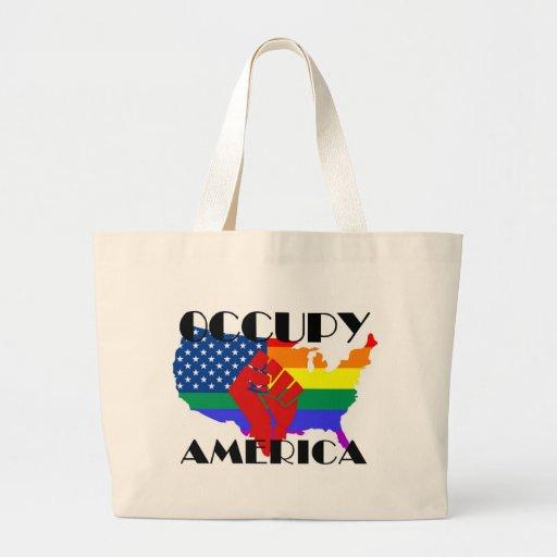 Ocupe América - LGBTQ Bolsa Tela Grande