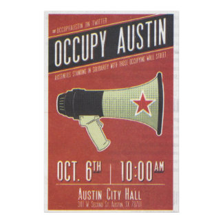 Ocupe Austin, ayuntamiento 2011 Austin ocupan la p Posters