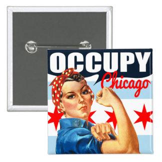 Ocupe Chicago Rosie los botones del cuadrado del r