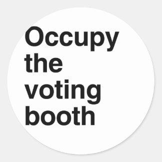 Ocupe el booth.png de votación pegatina redonda