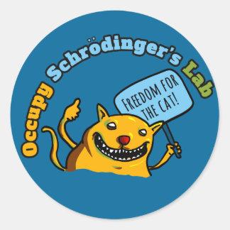Ocupe el laboratorio de Schrodinger Pegatina Redonda