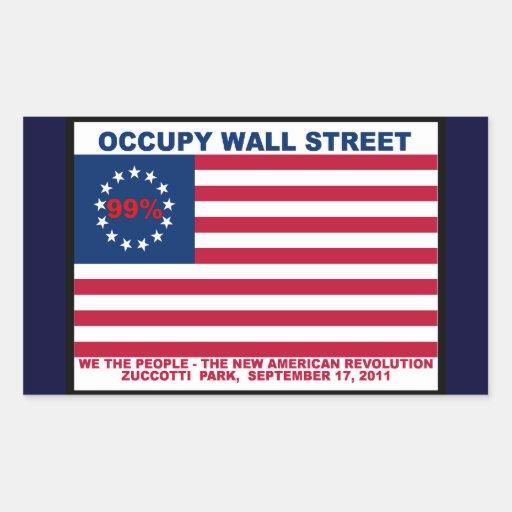 Ocupe el parque de Wall Street el 99% Zuccotti Pegatina Rectangular