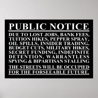 Ocupe el poster del aviso público